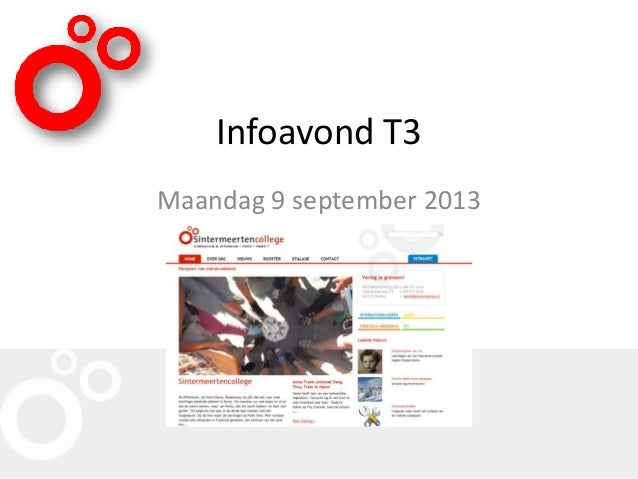 Infoavond T3 Maandag 9 september 2013