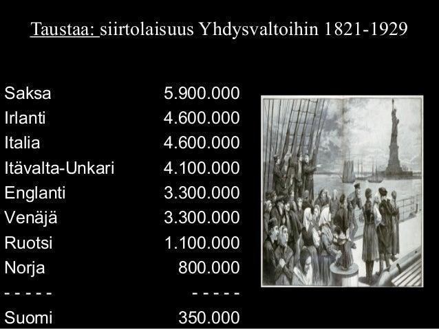 Saksa 5.900.000 Irlanti 4.600.000 Italia 4.600.000 Itävalta-Unkari 4.100.000 Englanti 3.300.000 Venäjä 3.300.000 Ruotsi 1....