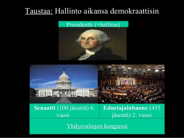 Taustaa: Hallinto aikansa demokraattisin Yhdysvaltojen kongressi Presidentti (+hallitus) Senaatti (100 jäsentä) 6. vuosi E...
