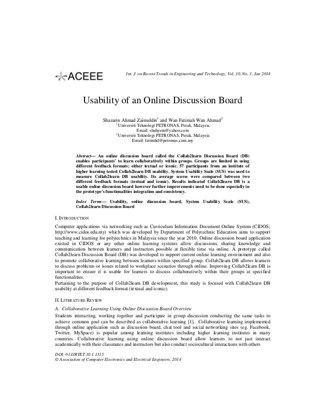 Int. J. on Recent Trends in Engineering and Technology, Vol. 10, No. 1, Jan 2014  Usability of an Online Discussion Board ...