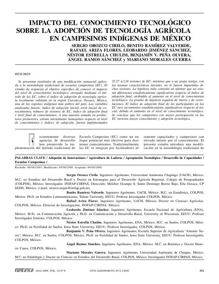 IMPACTO DEL CONOCIMIENTO TECNOLÓGICOSOBRE LA ADOPCIÓN DE TECNOLOGÍA AGRÍCOLA        EN CAMPESINOS INDÍGENAS DE MÉXICO     ...
