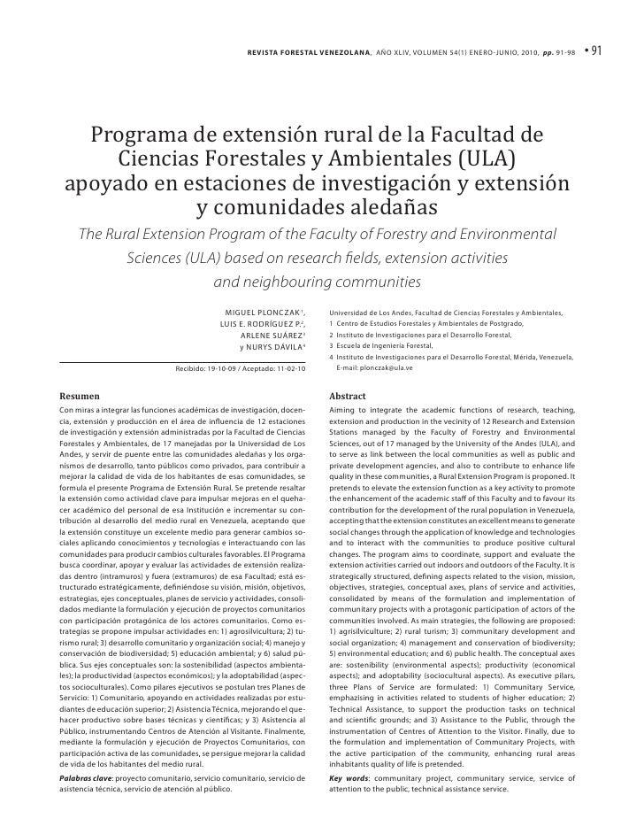 Revista Forestal Venezolana, Año XLIv, Volumen 54(1) enero-junio, 2010, pp. 91-98                      • 91   Programa de ...
