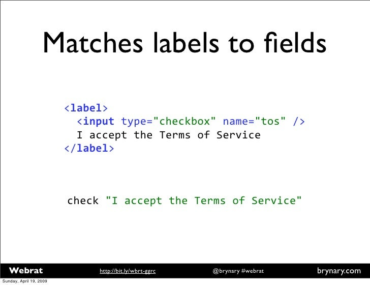 Matches labels to fields <label>