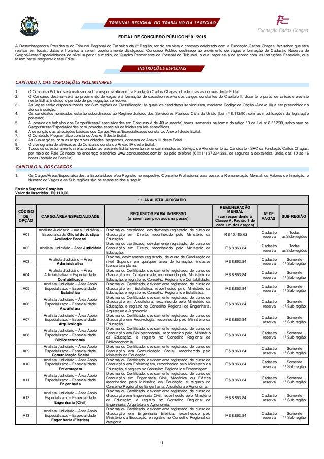 1 TRIBUNAL REGIONAL DO TRABALHO DA 3ª REGIÃO EDITAL DE CONCURSO PÚBLICO Nº 01/2015 A Desembargadora Presidente do Tribunal...