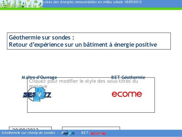 As s is es des énergies renouvelables en milieu urbain 18/ 2012                                                           ...
