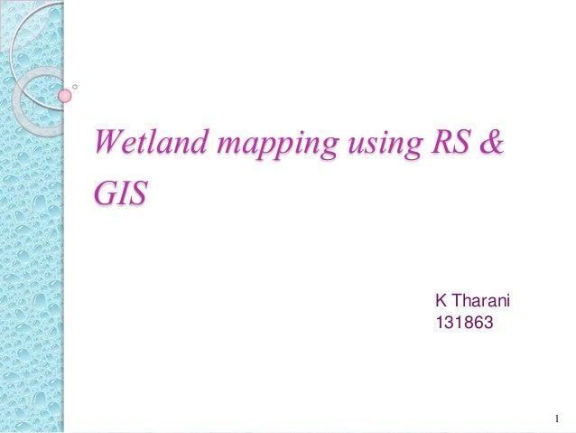 Wetland mapping using RS & GIS K Tharani 131863 1