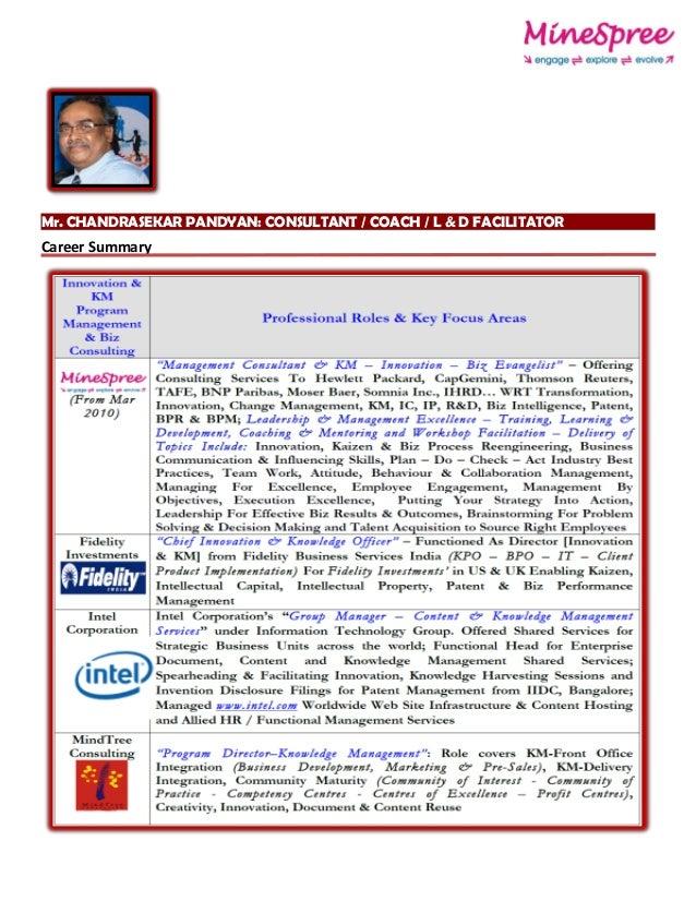 Mr. CHANDRASEKAR PANDYAN: CONSULTANT / COACH / L & D FACILITATOR Career Summary