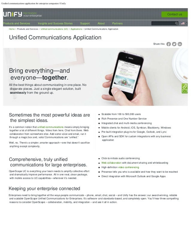 Unified communications application for enterprise companies | Unify Share this: Bring everything—and everyone—together. Al...