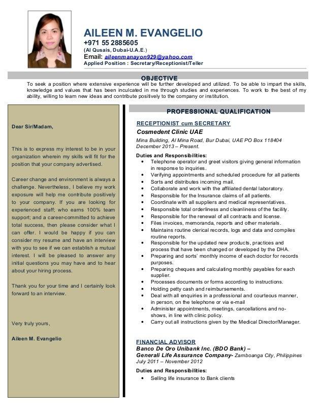 AILEEN M. EVANGELIO +971 55 2885605 (Al Qusais, Dubai-U.A.E.) Email: aileenmanayon929@yahoo.com Applied Position : Secreta...