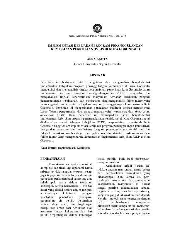 Asna Aneta / Jurnal Administrasi Publik, Volume 1 No. 1 Thn. 2010          1                      Jurnal Administrasi Publ...