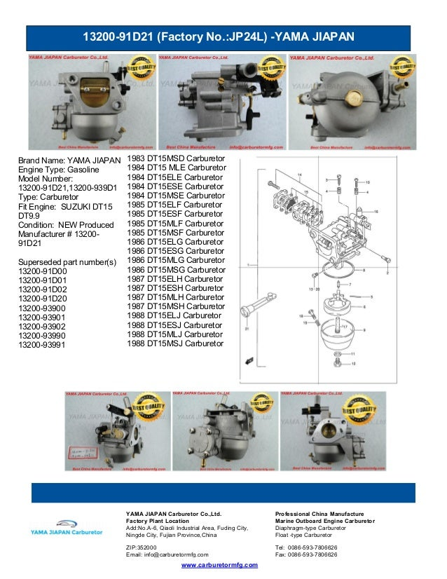 13200-91D21 (Factory No.:JP24L) -YAMA JIAPAN www.carburetormfg.com YAMA JIAPAN Carburetor Co.,Ltd. Professional China Manu...
