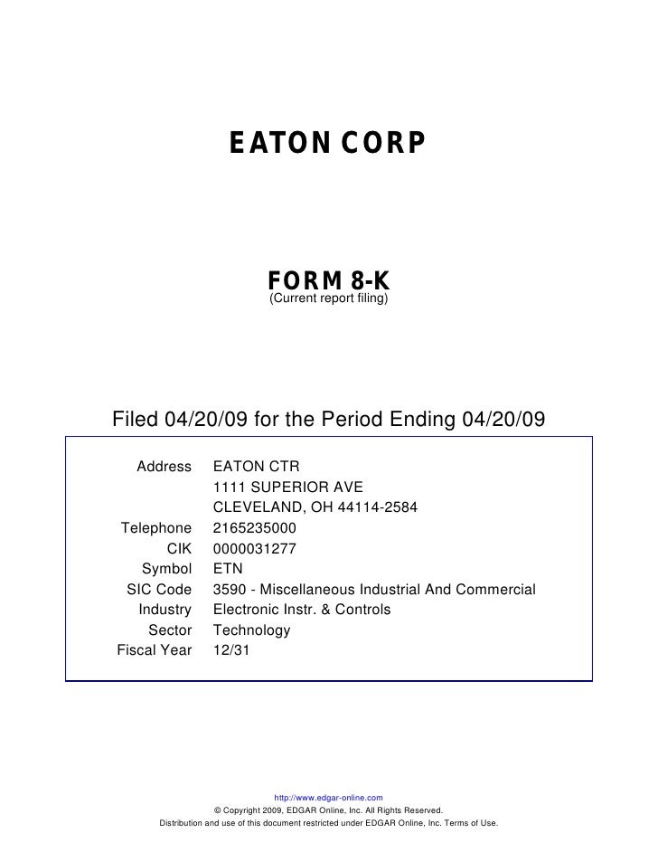 EATON CORP                                     FORM 8-K                                  (Current report filing)     Filed...