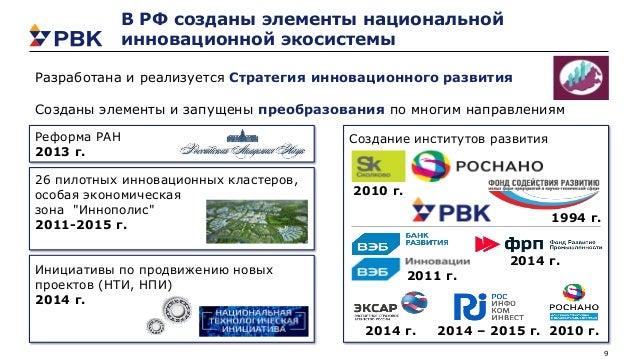 9 Инициативы по продвижению новых проектов (НТИ, НПИ) 2014 г. Реформа РАН 2013 г. 26 пилотных инновационных кластеров, осо...