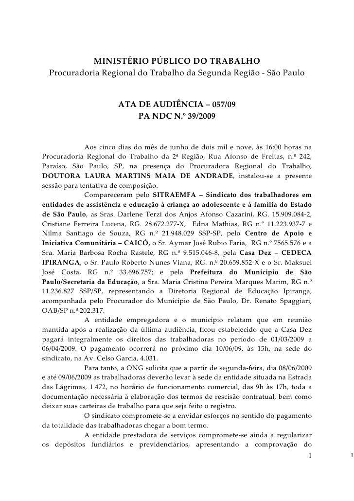 MINISTÉRIO PÚBLICO DO TRABALHO  Procuradoria Regional do Trabalho da Segunda Região - São Paulo                        ATA...