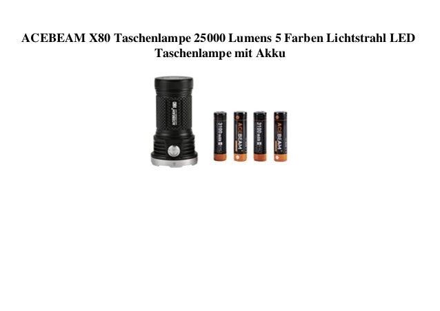 ACEBEAM X80 Taschenlampe 25000 Lumens 5 Farben Lichtstrahl LED Taschenlampe mit Akku