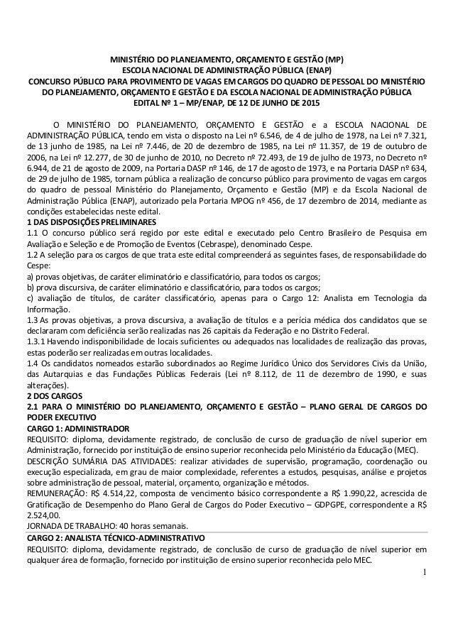 1 MINISTÉRIO DO PLANEJAMENTO, ORÇAMENTO E GESTÃO (MP) ESCOLA NACIONAL DE ADMINISTRAÇÃO PÚBLICA (ENAP) CONCURSO PÚBLICO PAR...