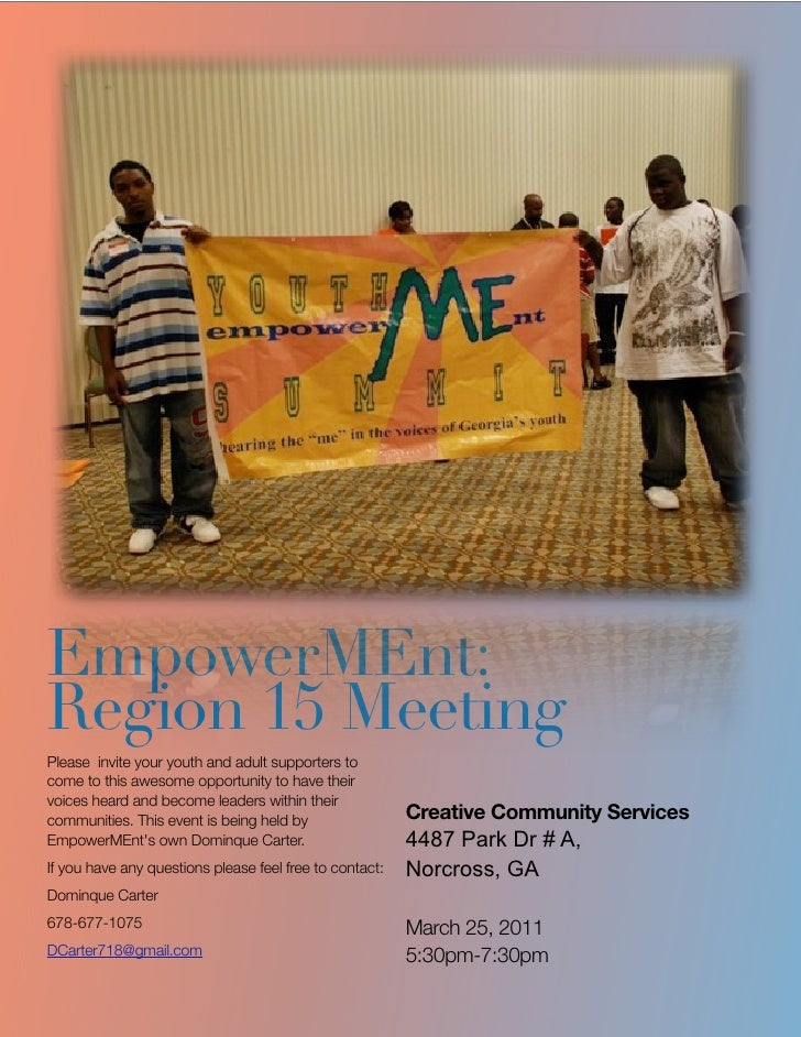 EmpowerMEnt:Region 15 MeetingPlease invite your youth and adult supporters tocome to this awesome opportunity to have thei...