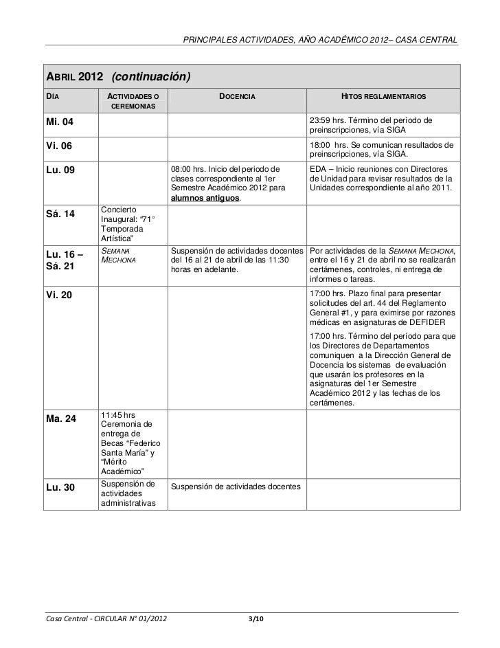 Calendario Academico Casa Central 2012 Slide 3