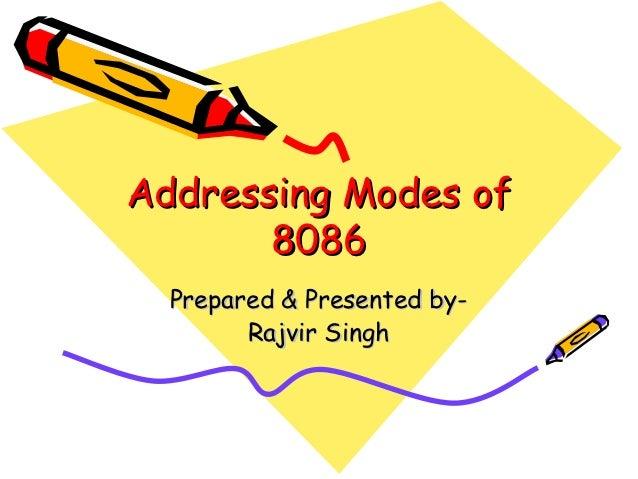 Addressing Modes of       8086  Prepared & Presented by-        Rajvir Singh