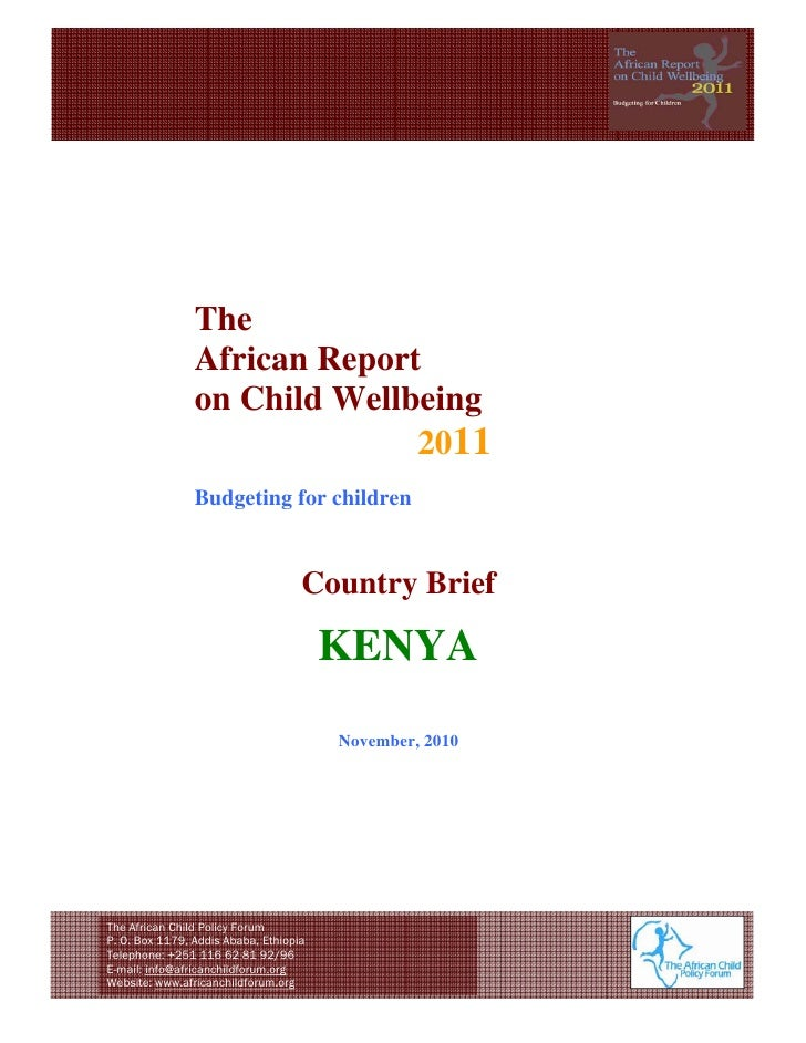 The                African Report                on Child Wellbeing                              2011    ...