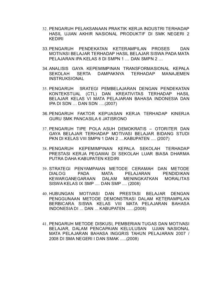 Skripsi Tentang Pendidikan Bahasa Indonesia