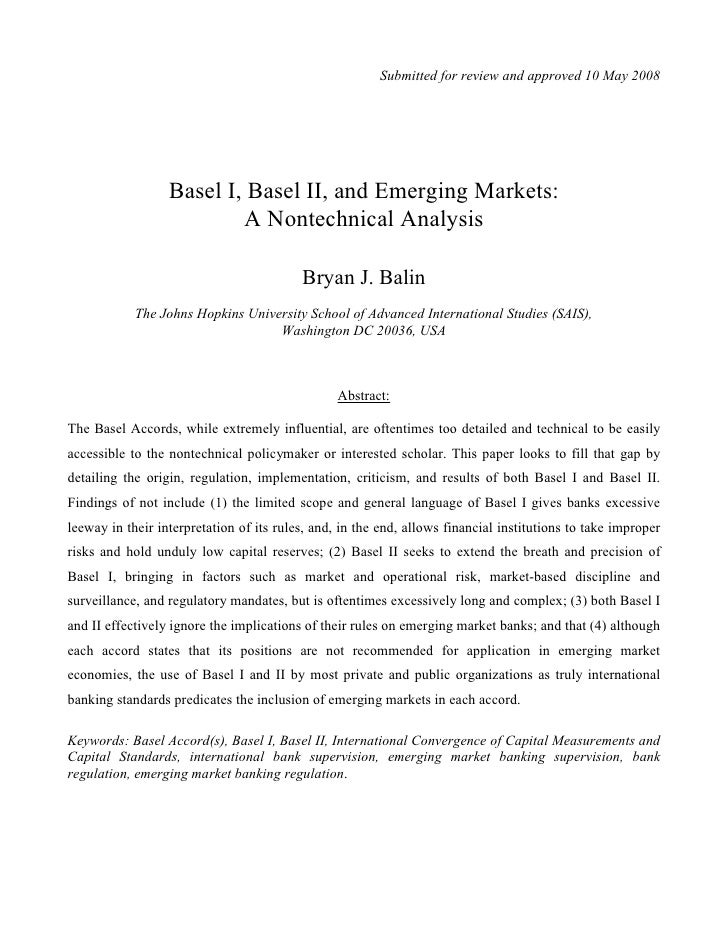 Submitted for review and approved 10 May 2008                       Basel I, Basel II, and Emerging Markets:              ...