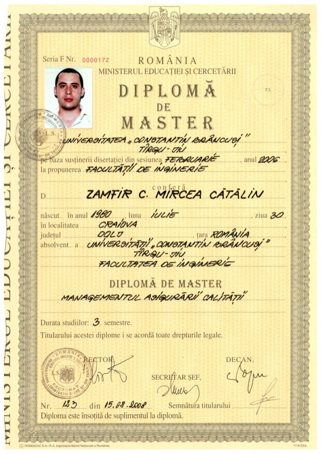 master calitate diploma master calitate