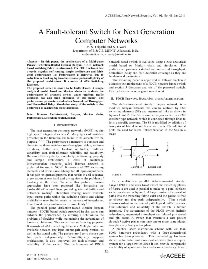 ACEEE Int. J. on Network Security, Vol. 02, No. 01, Jan 2011         A Fault-tolerant Switch for Next Generation          ...