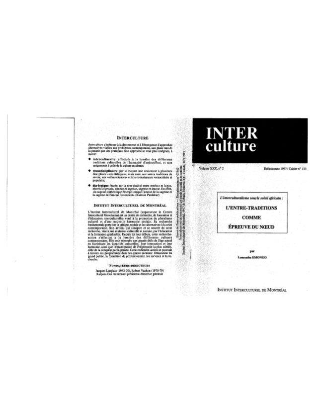 133 l'interculturalisme sous le soleil africain. l. emongo. (document à télécharger en format pdf, 3 mb).