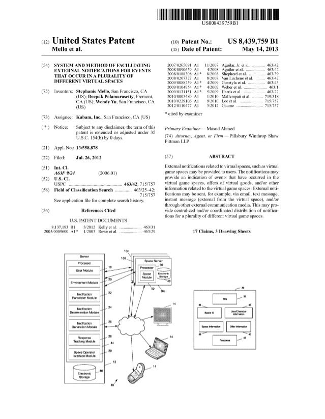 c12) United States Patent Mello et al. (54) (75) SYSTEM AND METHOD OF FACILITATING EXTERNAL NOTIFICATIONS FOR EVENTS THAT ...