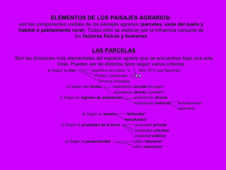 ELEMENTOS DE LOS PAISAJES AGRARIOS:  son los componentes visibles de los paisajes agrarios (parcelas, usos del suelo y  há...