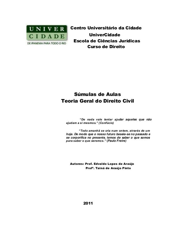 Centro Universitário da Cidade UniverCidade Escola de Ciências Jurídicas Curso de Direito Súmulas de Aulas Teoria Geral do...