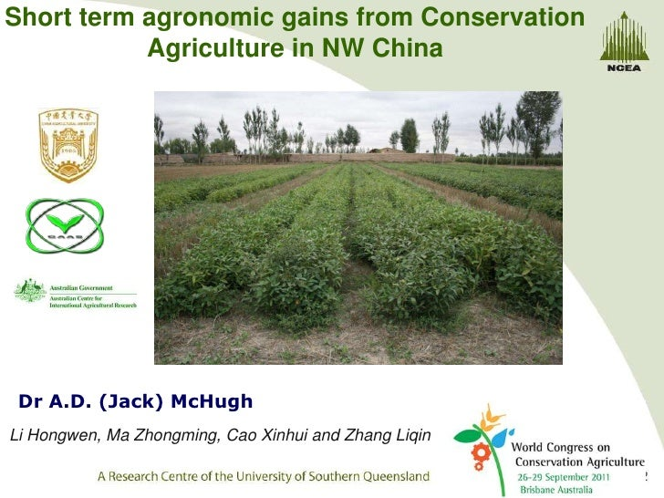 Short term agronomic gains from Conservation           Agriculture in NW China Dr A.D. (Jack) McHughLi Hongwen, Ma Zhongmi...