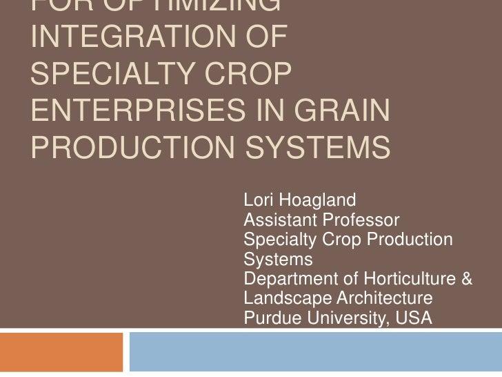 FOR OPTIMIZINGINTEGRATION OFSPECIALTY CROPENTERPRISES IN GRAINPRODUCTION SYSTEMS           Lori Hoagland           Assista...