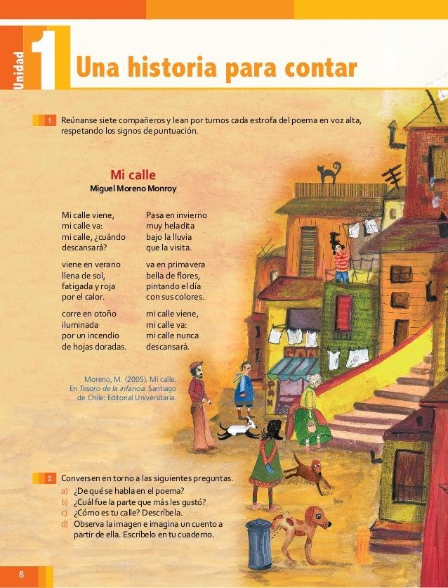 Poema trabajado en clases, página 8 texto escolar