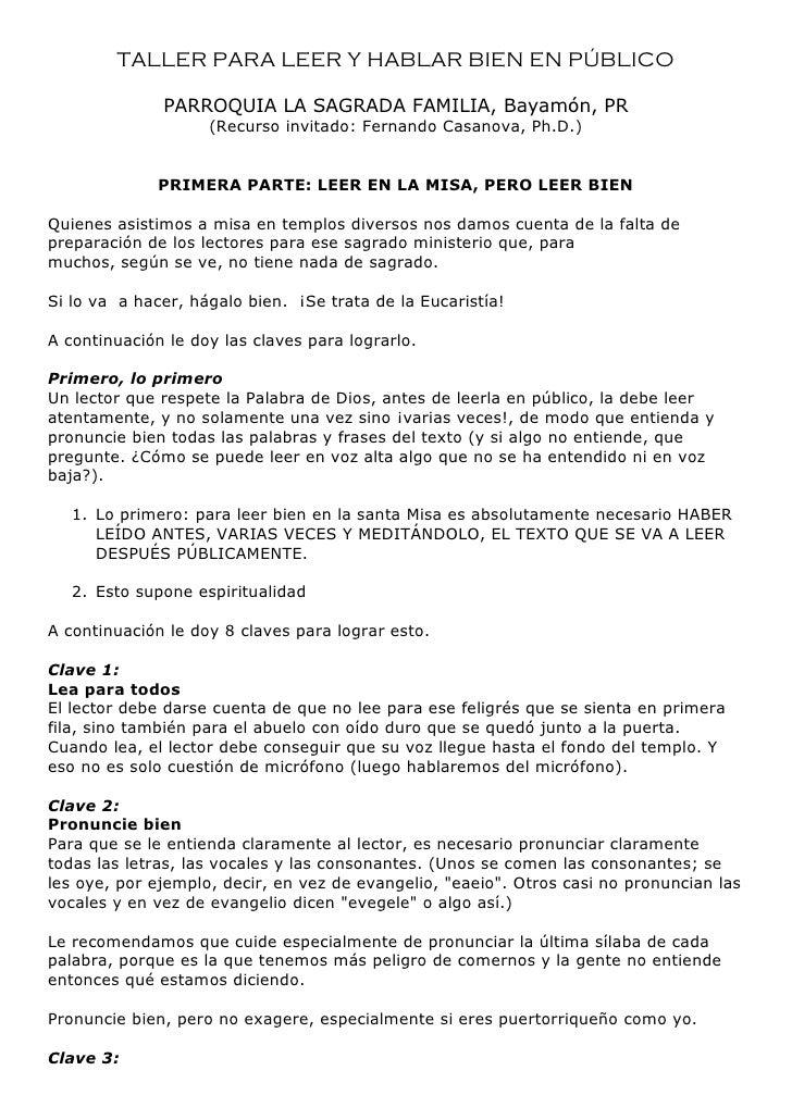 TALLER PARA LEER Y HABLAR BIEN EN PÚBLICO              PARROQUIA LA SAGRADA FAMILIA, Bayamón, PR                    (Recur...