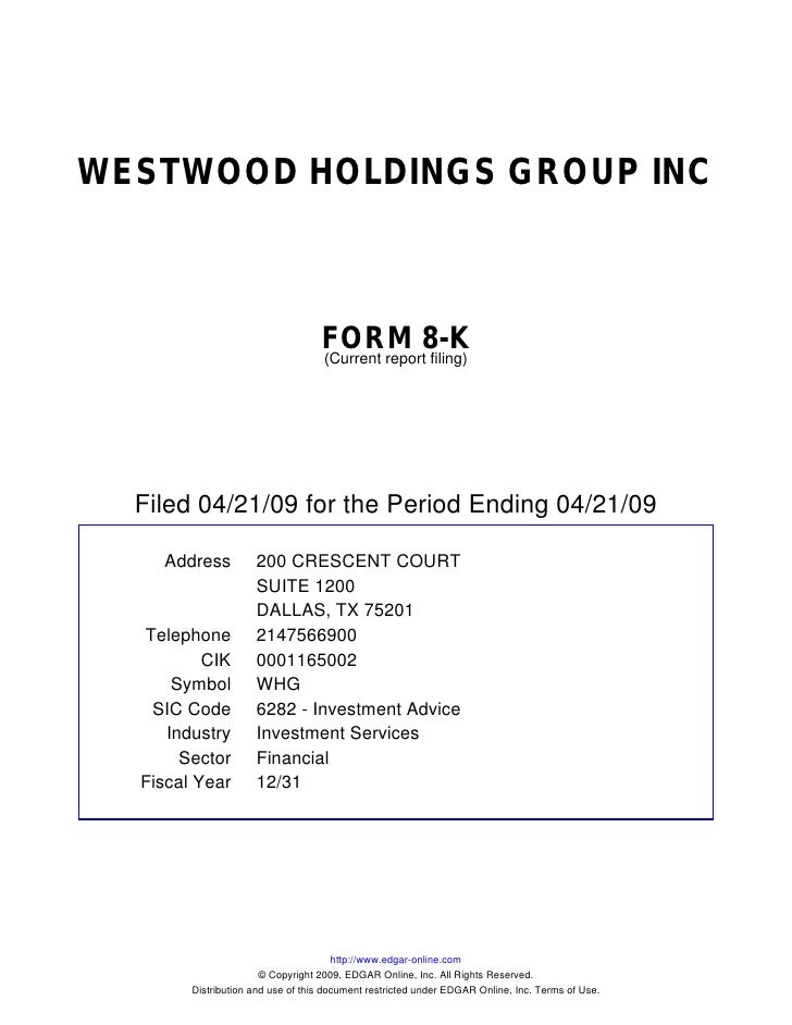 WESTWOOD HOLDINGS GROUP INC                                       FORM 8-K                                    (Current rep...