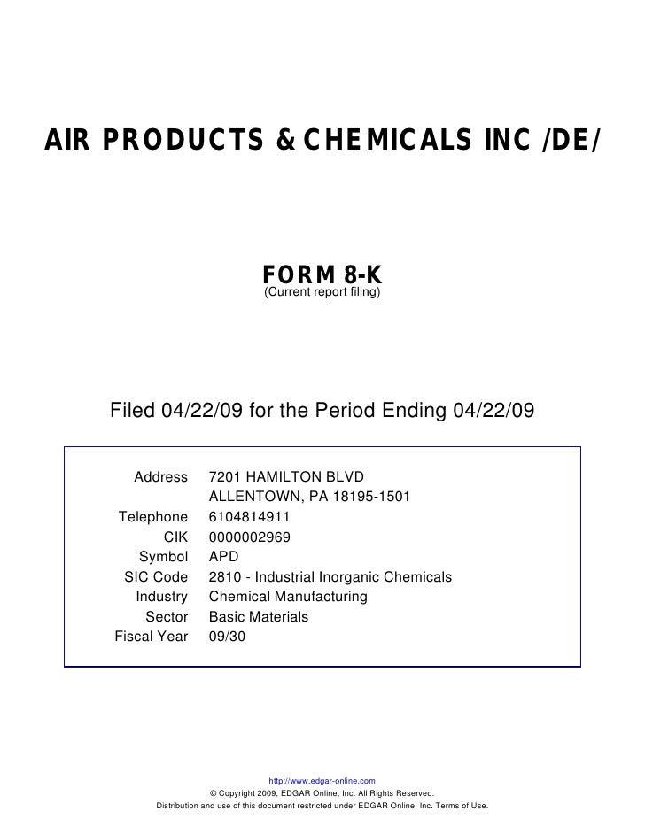 AIR PRODUCTS & CHEMICALS INC /DE/                                         FORM 8-K                                      (C...