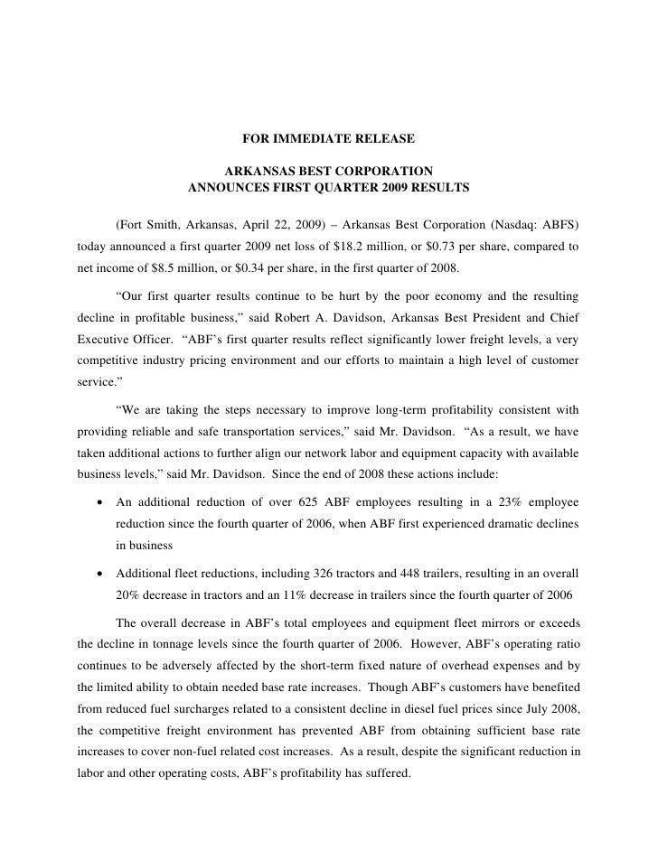 FOR IMMEDIATE RELEASE                            ARKANSAS BEST CORPORATION                       ANNOUNCES FIRST QUARTER 2...