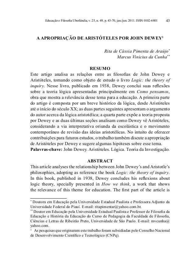 Educação e Filosofia Uberlândia, v. 25, n. 49, p. 43-70, jan./jun. 2011. ISSN 0102-6801   43    A APROPRIAÇÃO DE ARISTÓTEL...