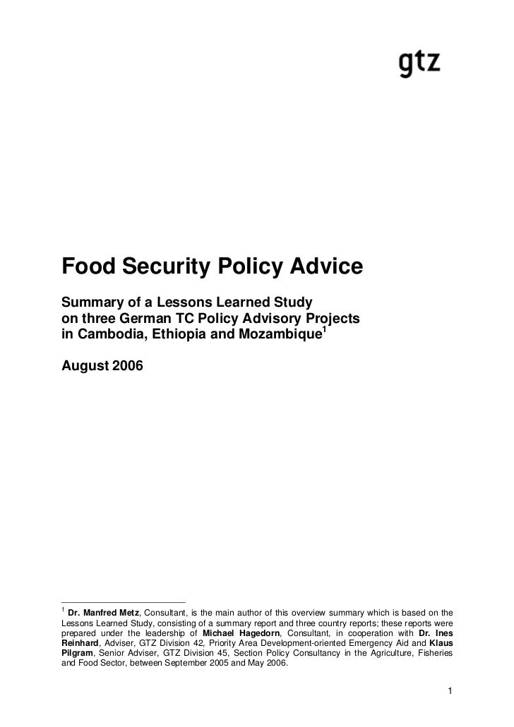 Food Security Policy AdviceSummary of a Lessons Learned Studyon three German TC Policy Advisory Projectsin Cambodia, Ethio...