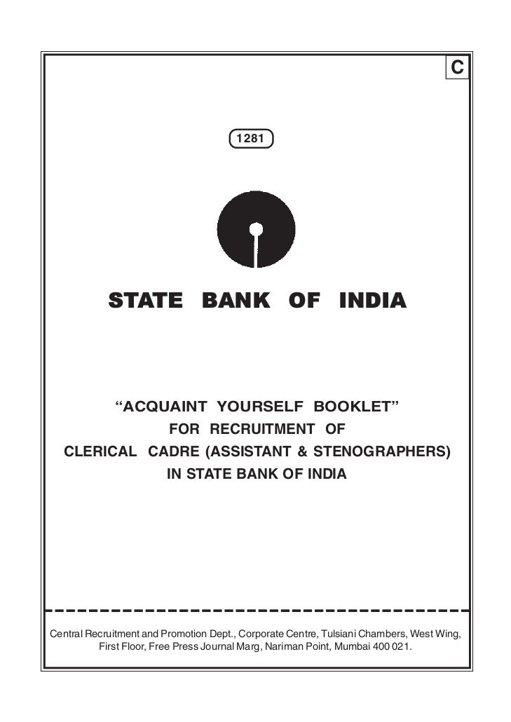 """C                                       1281            STATE BANK OF INDIA             """"ACQUAINT YOURSELF BOOKLET""""       ..."""