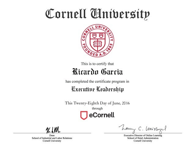Executive Leadership certificate program completion