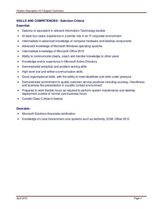 Desktop Support Technician Job Description. End User Support Cover