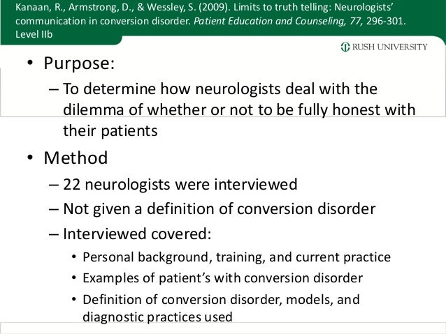 Rounds Presenation- Conversion Disorder
