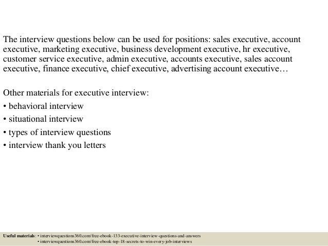 sales executive interview questions and answers pdf