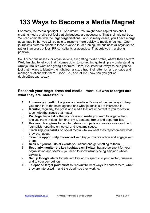133 ways to become a media magnet Slide 2