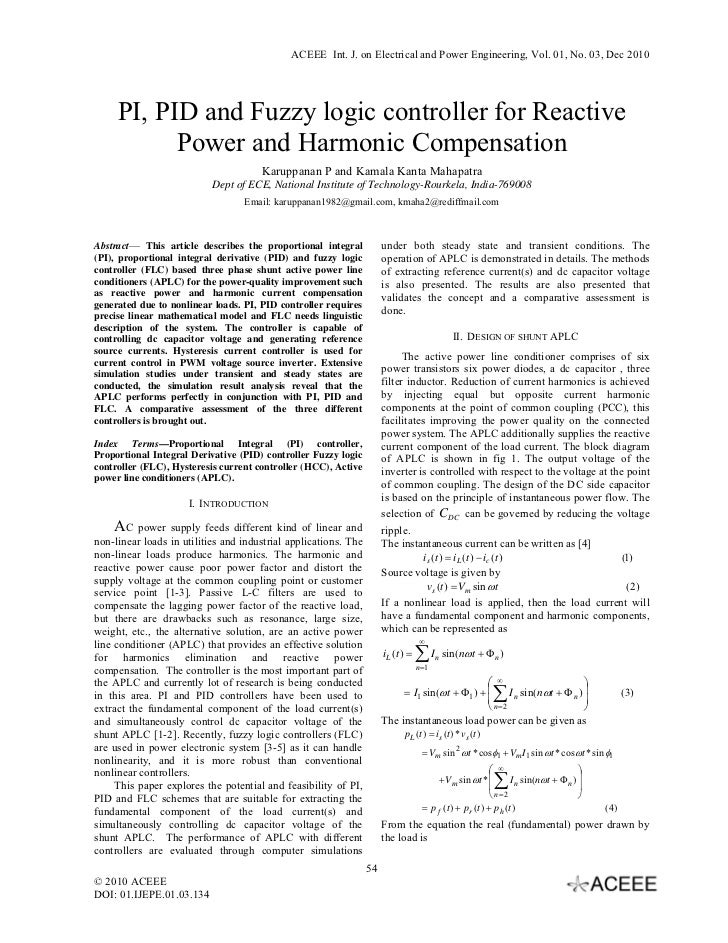 ACEEE Int. J. on Electrical and Power Engineering, Vol. 01, No. 03, Dec 2010     PI, PID and Fuzzy logic controller for Re...