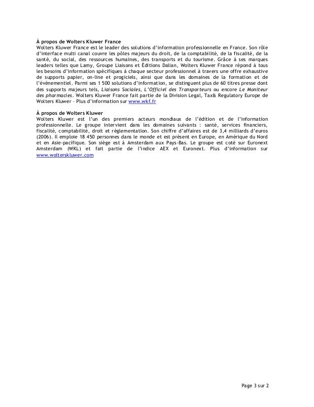 Communiqué de Presse Wolters Kluwer France - PB Communication Slide 3