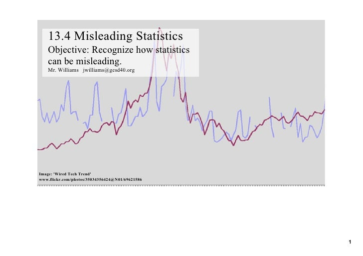 13.4 Misleading Statistics     Objective: Recognize how statistics      can be misleading.     Mr. Williams   jwilliams@ge...